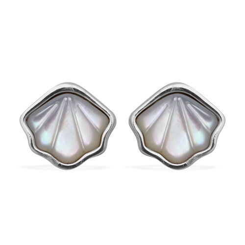 Mother Of Pearl Stud Shell-Shape Earrings in Rhodium Overlay Sterling Silver