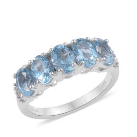 ILIANA 2 Ct AAA Santa Maria Aquamarine and Diamond 5 Stone Ring in 18K White Gold I1-I2 GH