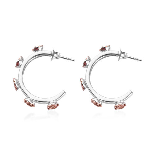 Rose Gold and Platinum Overlay Sterling Silver J-Hoop Floral Earrings (with Push Back), Silver wt 6.69 Gms.
