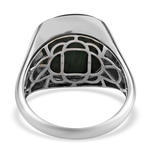 Malachite Signet Ring in Platinum Overlay Sterling Silver 14.88 Ct, Silver wt. 8.00 Gms