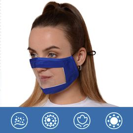 Transparent Face Mask (Size 14x20x29 Cm) - Navy Blue