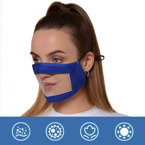 Transparent Face Mask (Size 14x20x29 Cm) - Navy Blue