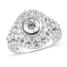 J Francis Platinum Overlay Sterling Silver Ring Made with SWAROVSKI ZIRCONIA 4.16 Ct.