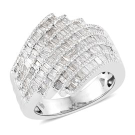 Designer Inspired- Diamond (Bgt) Ring in Platinum Overlay Sterling Silver Ring 1.000 Ct, Silver wt 6.55 Gms, Number of Diamonds- 144.