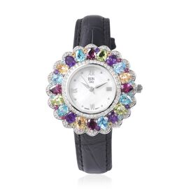EON 1962 Swiss Movement Rhodolite Garnet and Multi Gemstone Watch with Black Genuine Leather Strap i