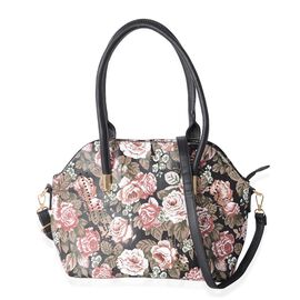 Black and Multi Colour Floral Pattern Tote Bag Size 36x31x25x14 Cm