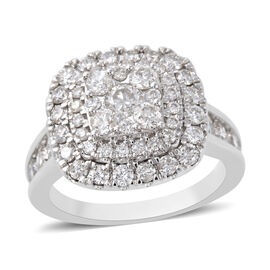 2 Carat Diamond Cluster Ring in 14K White Gold 6.40 Grams I1 GH