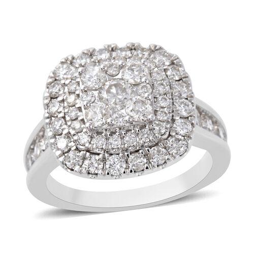 2 Carat Diamond Cluster Ring in 14K White Gold 6.40 Grams I1 GH
