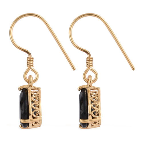 Black Tourmaline (Pear) Hook Earrings in 14K Gold Overlay Sterling Silver 4.000 Ct.