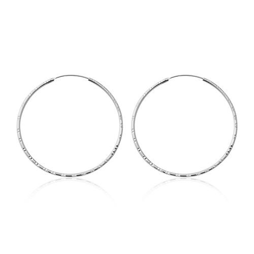 Rhodium Overlay Sterling Silver Hoop Earrings, Silver wt 5.15 Gms.