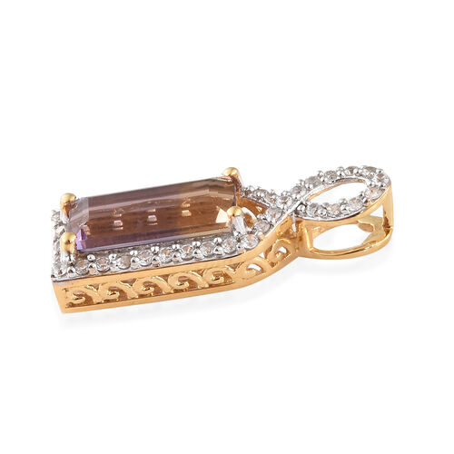 Natural Anahi Ametrine (Bgt), Natural White Cambodian Zircon Pendant in 14K Gold Overlay Sterling Silver 3.250 Ct