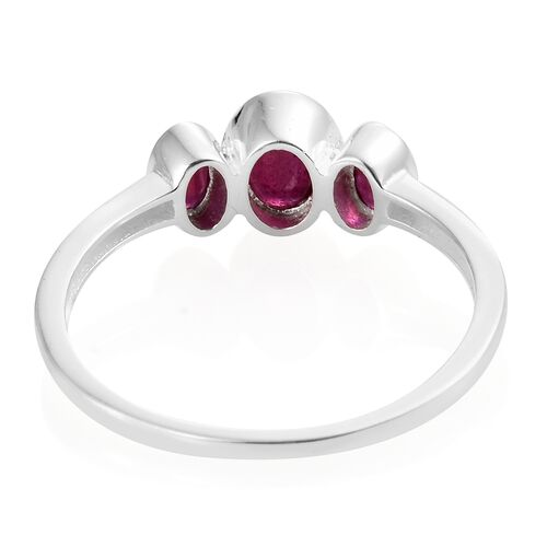 One Time Deal- African Ruby (Ovl 7X5 mm 1.00 Ct) 3 Stone Ring in Sterling Silver 1.750 Ct.