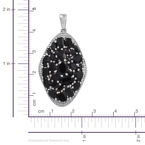 Cocktail Collection - Boi Ploi Black Spinel (Ovl) Cluster Pendant in Platinum Overlay Sterling Silver 8.750 Ct. Silver wt 6.19 Gms.
