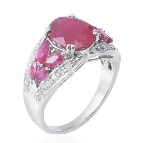 African Ruby (Ovl 5.20 Ct), Natural White Cambodian Zircon Ring in Rhodium Overlay Sterling Silver 7.010 Ct, Silver wt 5.10 Gms.