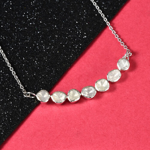 Artisan Crafted Polki Diamond Necklace (Size 20 with Extender) in Platinum Overlay Sterling Silver 1