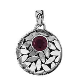 Royal Bali 1.86 Ct African Ruby Drop Pendant in Sterling Silver 4.2 Grams