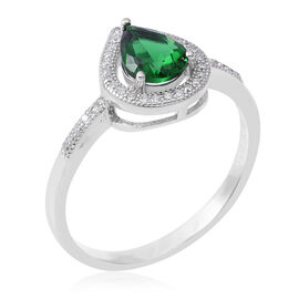 ELANZA Simulated Emerald (Pear 8x6 mm), Simulated Diamond Ring in Rhodium Overlay Sterling Silver