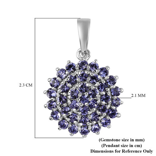 J Francis Crystal from Swarovski Tanzanite Colour Crystal Cluster Pendant in Bronze and Platinum Overlay Sterling Silver