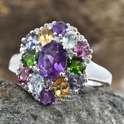 Amethyst (Ovl 1.15 Ct), Sky Blue Topaz, Rhodolite Garnet, Russian Diopside and Multi Gemstone Ring in Platinum Overlay Sterling Silver 3.750 Ct.