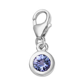 Tanzanite (Rnd) Charm in Platinum Overlay Sterling Silver 0.50 Ct.