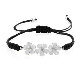 J Francis - Crystal from Swarovski AB Crystal (Rnd) Enamelled Bracelet (Size 6.5-9 Adjustable) in St