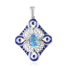 Swiss Blue Topaz Enamelled Pendant in Platinum Overlay Sterling Silver 1.50 Ct.
