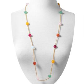 Multi Colour Agate (Rnd) Long Line Station Necklace (Size 35)