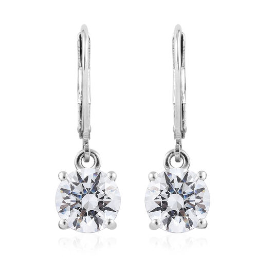 J Francis Platinum Overlay Sterling Silver (Rnd 7.5mm) Lever Back Earrings Made with SWAROVSKI ZIRCONIA