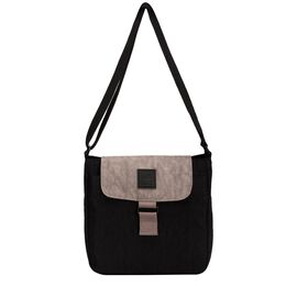 Artsac - Black and Grey Colour Square Crossbody Bag with Zip Closure (Size 230 x220 x75 mm)