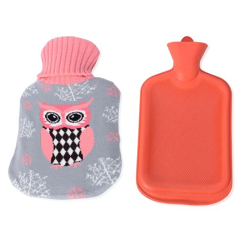 Set of 2  - Hotwater Bottle with Jacquard Knitted Cover (Size 32x18 Cm)
