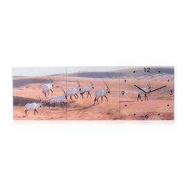 Home Designs: Antelope Pattern Three Piece Wall Clock (Size 90x30x4 Cm)