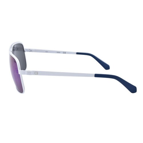 GUESS White Metal Aviator With Blue Lenses
