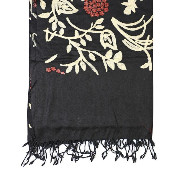 100% Merino Wool Kashmiri  Hand Embroidery (Wool and Rose Tone Thread) Heavy Weight Scarf (Size 195x70 Cm) Black & White - Upto 400 Gms