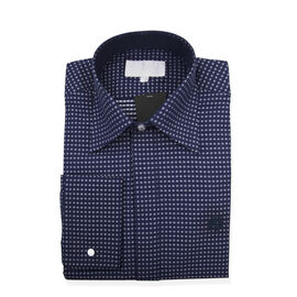 William Hunt Saville Row Forward Point Collar Dark Blue and White Polka Dot Shirt Size 17.5