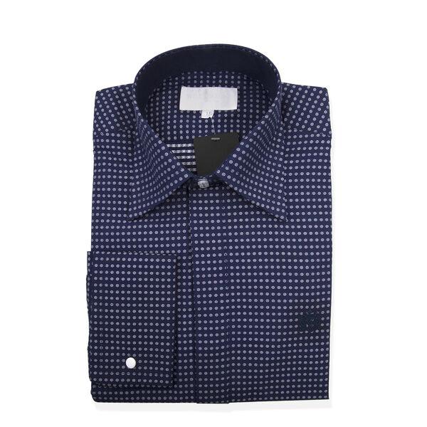 William Hunt Saville Row Forward Point Collar Dark Blue and White Polka Dot Shirt Size 17.5