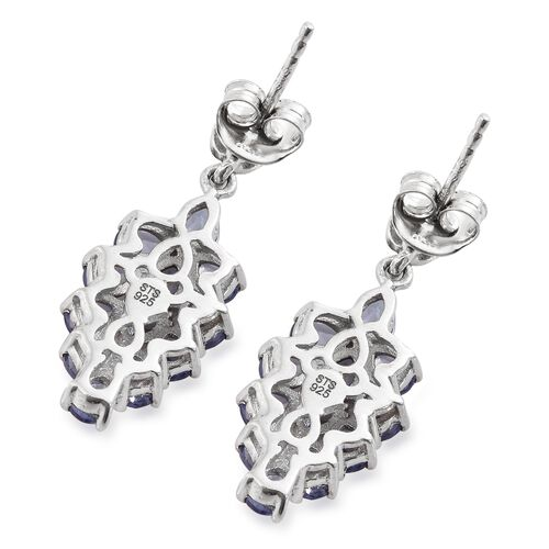 Tanzanite (Pear), Natural Cambodian Zircon Earrings (with Push Back) in Platinum Overlay Sterling Silver 3.500 Ct.