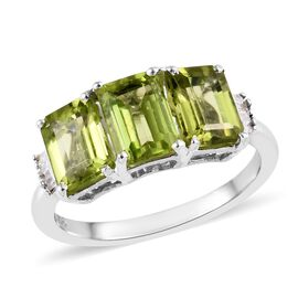 2.75 Ct Hebei Peridot and Diamond Trilogy Ring in Platinum Plated Sterling Silver
