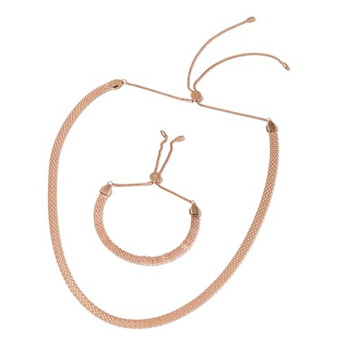 Rose Gold Stainless Steel Adjustable Bismark Necklace (Size 18) and Bracelet (Size 7 to 11)