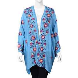 Flower Embroidery Pattern Kimono (Size 75x80 Cm) - Blue and Multi