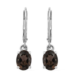 Brazilian Smoky Quartz (Ovl) Lever Back Earrings in Platinum Overlay Sterling Silver 2.25 Ct.