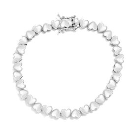 Heart Bracelet in Platinum Plated Sterling Silver 7.5 Inch