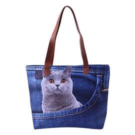 Cute Cat in Jeans Pocket Print Tote Bag in Blue (42x9x32cm)