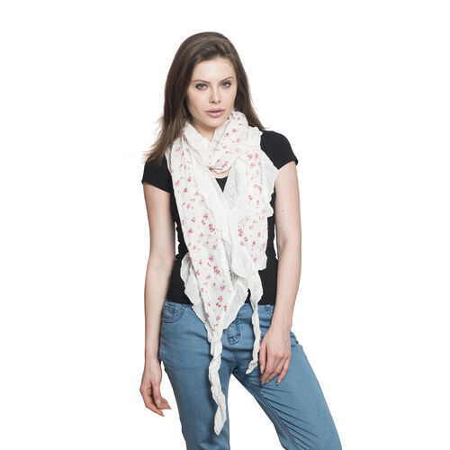 100% Cotton Multi Colour Floral Printed Ruffled White Colour Scarf (Size 200x40 Cm)