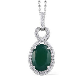 6.75 Ct Verde Onyx and Natural Cambodian Zircon Drop Pendant with Chain in Sterling Silver