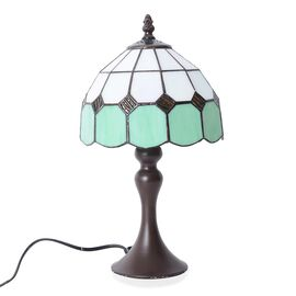 Home Decor - Tiffany Style Table Lamp with Handcrafted Stained Glass - Green and Ivory White with Mother of Pearl Plating Finish