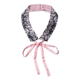 Butterfly Pattern 100% Mulberry Silk Satin Belt (Size 260 Cm) - Pink and Black