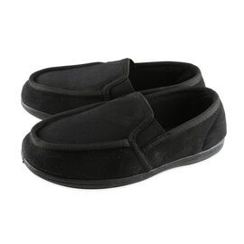 Dunlop Mens Gusset Moccasin Slippers (Size 10) - Black
