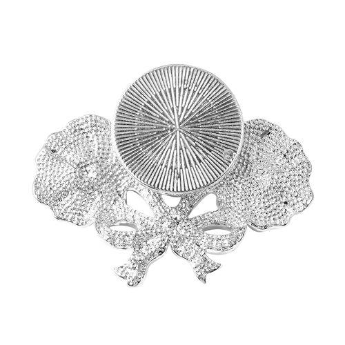 TJC Poppy Design White Austrian Crystal (Rnd) Enamelled Poppy Flower Magnetic Brooch in Silver Tone