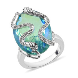 GP 19.07 Ct Peacock Quartz and Multi Gemstone Snake Ring in Platinum Plated Sterling Silver