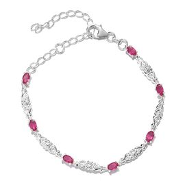 African Ruby (FF) Bracelet (Size 6.5 with 2 inch Extender) in Sterling Silver 2.750 Ct.